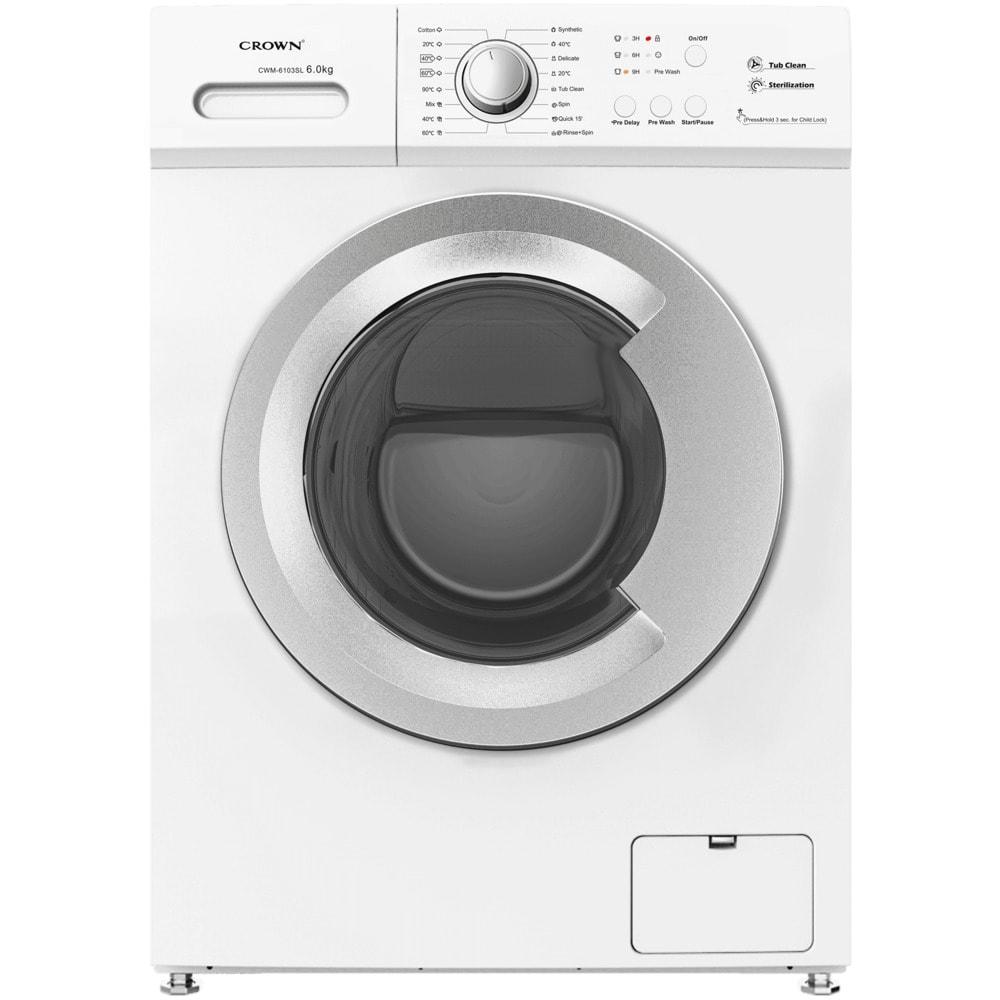 Перална машина Crown CWM-6103SL, клас Е, 6 кг. капацитет, 1000 оборота, 16 програми, свободностояща, 60 cm, 15 минутна програма за пране под 2 кг, бял image