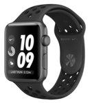 Смарт часовник Apple Watch Nike+ Series 3 GPS 42mm, 312 x 390 pix OLED Retina дисплей, 8GB памет, Wi-Fi, Bluetooth, Watch OS 5, водоустойчив, черен с черна каишка image