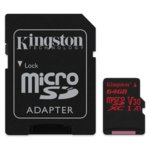 64GB microSDXC, с SD Adapter, Kingston SDCR/64GB, UHS-I V30, скорост на четене 100 MB/sec, скорост на запис 80 MB/sec image