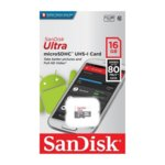 16GB microSDHC, SanDisk ULTRA, Class 10 UHS-I, скорост на четене 80MB/s, скорост на запис 10MB/s image
