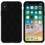 Калъф за Apple iPhone X/XS, силиконов, grid, черен  image