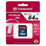 64GB SDXC, Transcend Premium 400x, Class 10, UHS-I, скорост на четене 60MB/s, скорост на запис 10MB/s image