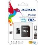 32GB microSDHC, с SD адаптер, A-Data Premier, Class 10 UHS-I, скорост на четене 50MB/s, скорост на запис 10MB/s image