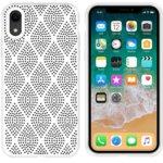Калъф за Apple iPhone XR, силиконов, grid, бял image