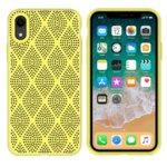 Калъф за Apple iPhone XR, силиконов, grid, жълт image