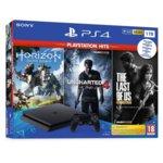 Конзола Sony PlayStation 4 Slim в комплект с 3 игри (Horizon Zero Dawn + Uncharted 4: A Thief's End + The Last Of Us), 1TB, черна image