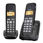 Безжичен телефон Gigaset A120 DUO, течнокристален черно-бял дисплей, черен image