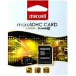 8GB microSDHC с адаптер, Maxell, Class 10, скорост на четене 40MB/s, скорост на запис 10MB/s image