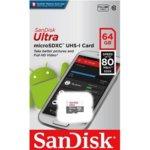 64GB micro SD, SanDisk Ultra, Class 10, скорост на четене 100MB/s image