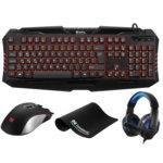 Комплект клавиатура/мишка/пад и слушалки Sandberg Starter Kit UK, LED подсветка, микрофон, USB, черно-червени image