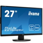 "Монитор Iiyama Prolite E2783QSU-B1, 27""(68.58 cm) TN панел, WQHD, 1ms, 12 000000 : 1, 350 cd/m2, HDMI, DisplayPort, DVI image"