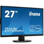 """Монитор Iiyama Prolite E2783QSU-B1, 27""""(68.58 cm) TN панел, WQHD, 1ms, 12 000000 : 1, 350 cd/m2, HDMI, DisplayPort, DVI image"""