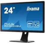 "Монитор Iiyama Prolite B2483HSU-B1DP, 24""(60.96 cm) TN панел, Full HD, 2ms, 12 000 000:1, 250 cd/m2, Display port, HDMI, DisplayPort, DVI, VGA image"
