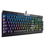 Клавиатура Corsair K70 RGB MK.2, гейминг, Cherry MX Silent клавиши, подсветка, мултимедийни бутони, памет, черна, USB image