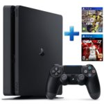 Конзола Sony PlayStation 4 Slim в комплект с 2 игри (Fifa 17 + NBA 2K17), 500GB, черен image