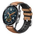 "Смарт часовник Huawei Watch GT с подарък кайшка Huawei Fluoroelastomer Strap (тъмно зелена), 1.39"" (3.53cm) AMOLED дисплей, Bluetooth, водоустойчив 5 ATM, кафява кожена каишка, сребрист image"