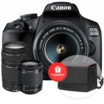 "Canon EOS 2000D(черен) + обективи EF-s 18-55mm f/3.5-5.6 IS II + EF 75-300 mm f/4.0-5.6 III + калъф Canon Shoulder SB100, 24.1 MPix, 3.0""(7.62cm) TFT дисплей, Wi-Fi, NFC, SD/SDHC/SDXC слот, USB, HDMI Mini(Type-C)  image"