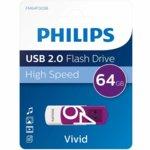 Памет 64GB USB Flash Drive, Philips VIVID EDITION 2.0, USB 2.0, бяла image