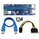 Кабел удължител Riser Card VER006C, от PCI-E 1X към 16X + кабел USB 3.0 60см, син image
