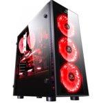 Кутия Redragon Sidewipe, ATX/mATX, 2x USB 3.0, с прозорец, черна/червена, без захранване image