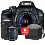 """Фотоапарат Canon EOS 4000D(черен) в комплект с обективи EF-s 18-55 mm DC III и EF 75-300 mm f/4.0-5.6 III с подарък чанта Shoulder SB100, 18.0 MPix, 2.7""""(6,8 cm) TFT дисплей, Wi-Fi, SD/SDHC/SDXC слот, USB, HDMI Mini (Type-C) image"""