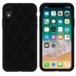 Калъф за Apple iPhone XR, силиконов, grid, черен image
