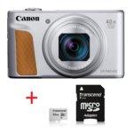 "Canon PowerShot SX740 HS(сребрист) + Transcend 32GB microSD UHS-I U1 с адаптер, 40x оптично увеличение, 20.3Mpix, 3,0""(7,5 cm) TFT дисплей, Wi-Fi, Bluetooth, SD/SDHC/SDXC слот, USB Micro-B, HDMI Micro  image"