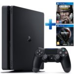 Конзола Sony PlayStation 4 Slim в комплект с 2 игри (Call of Duty: WWII + Mass Effect: Andromeda), 500GB, черен image