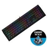 Клавиатура Ducky Shine 7 Blackout RGB, Cherry MX Blue, механична, RGB подсветка, черна image