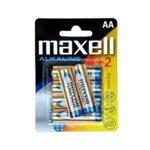 Батерии алкални Maxell AA, 1.5V, 6 бр.