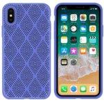 Калъф за Apple iPhone X/XS, силиконов, grid, лилав image