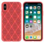 Калъф за Apple iPhone X/XS, силиконов, grid, розов image