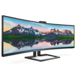 "Монитор Philips 499P9H, 49"" (124.46 cm) VA Curved панел, QHD, 5 ms, 80000000:1, 450 cd/m2, DisplayPort, HDMI, USB-C image"