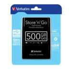 """Твърд диск 500GB Verbatim (черен), външен, 2.5"""", USB 3.0 image"""