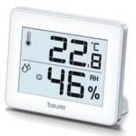 Цифров термо-хигрометър Beurer HM16, измерва температура и влажност, индикация за качеството на температурата и влажността в помещението, бял image