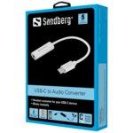 Външна звукова карта Sandberg SNB-136-27, от USB-C(м) към 1x 3.5mm жак, бяла image