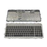 Клавиатура за лаптоп HP, съвместима със серия Envy 17-3000/3200, 17t-3000/3200, US, с подсветка, сребриста рамка image