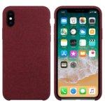 Калъф за Apple iPhone X/XS, силиконов с текстил, Hiha, червен image