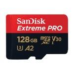 Карта памет 128GB microSDXC с адаптер, SanDisk Extreme Pro, UHS-I, скорост на четене 170MB/s, скорост на запис 90MB/s image
