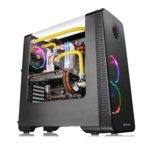 Кутия Thermaltake View 28 RGB Riing Edition, ATX/mATX/miniITX, 2x USB 3.0, извит прозорец, RGB подсветка(вграден контролер за управление), Riing вентилатор с подсветка, черна, без захранване image