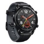 "Смарт часовник Huawei Watch GT с подарък кайшка Huawei Fluoroelastomer Strap (оранжева), 1.39"" (3.53cm) AMOLED дисплей, Bluetooth, водоустойчив 5 ATM, черен image"
