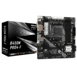Дънна платка ASRock B450M PRO4-F, B450, AM4, DDR4, PCIe (HDMI&DVI&VGA)(CFX), 4x SATA3 6.0 Gb/s, 1x M.2 Socket, 1x Ultra M.2 Socket, 1x USB 3.1 Gen1 Type-C, 4x USB 3.1, micro ATX image