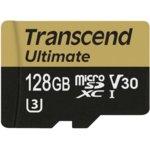 128GB microSDXC, Transcend Ultimate, UHS-I U3, скорост на четене 95MB/sec, скорост на запис 60MB/sec image