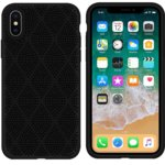 Калъф за Apple iPhone XS Max, силиконов, grid, черен  image