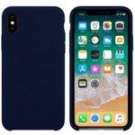 Калъф за Apple iPhone XS Max, силиконов с текстил, Hiha, син image
