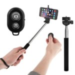 Безжичен селфи стик с Bluetooth бутон за снимки за мобилни телефони с Android и iOS, черен image