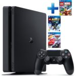 Конзола Sony PlayStation 4 Slim в комплект с 3 игри (Lego Marvel Super Heroes + Lego Batman 3: Beyond Gotham + Cars 3: Driven to Win), 500GB, черен image