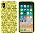 Калъф за Apple iPhone XS Max, силиконов, grid, жълт  image