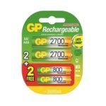 Акумулаторна батерия GP Batteries 270AAHC, AA, 1.2V, 2700mAh, NiMH, 2 броя + подарък 2 броя R03 AAA, 1.20V, 800mAh image