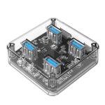 USB Хъб Orico MH4U-U3, 4x USB 3.0 5V/900mA, прозрачен image